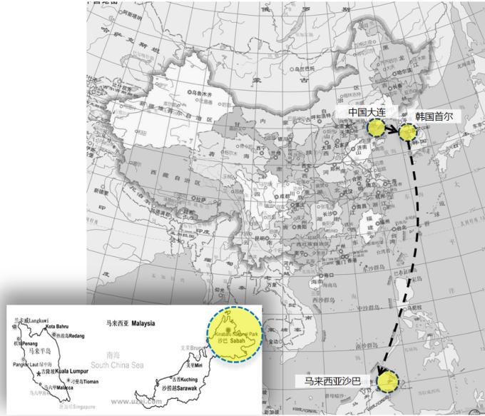 沙巴地图 有景点标注